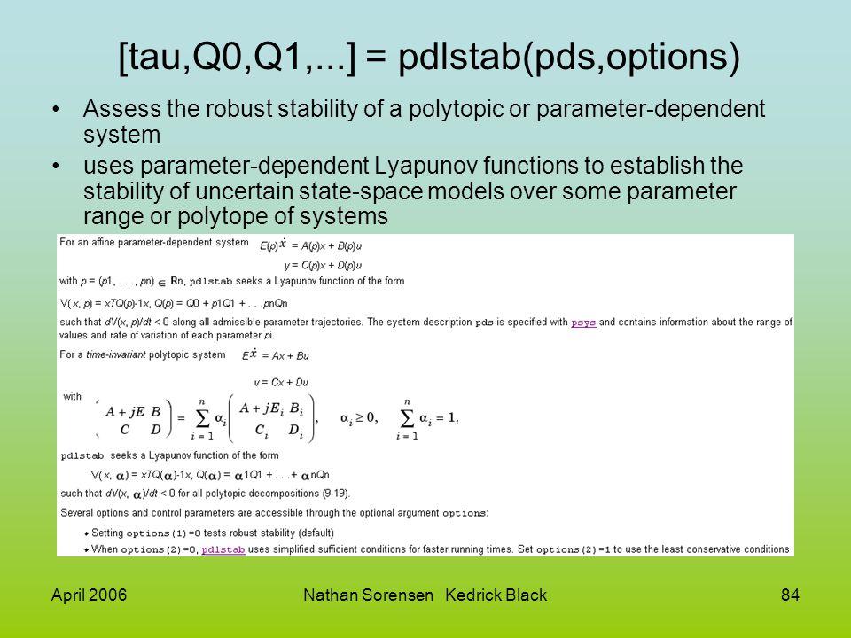 [tau,Q0,Q1,...] = pdlstab(pds,options)